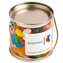 Small PVC Bucket Filled with Jelly Beans 180G (Corp Coloured or Mixed Coloured Jelly Beans)