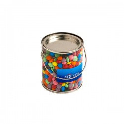 Big PVC Bucket Filled with Choc Beans 875G (Corporate Colours)