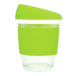 Lime 340ml Reusable Glass Karma Kup with Silicone Band and Lid