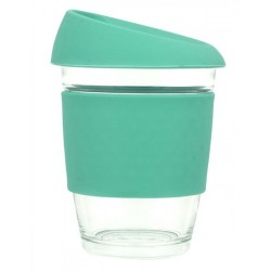 Teal 340ml Reusable Glass Karma Kup with Silicone Band and Lid