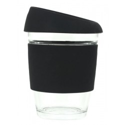 Black 340ml Reusable Glass Karma Kup with Silicone Band and Lid