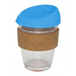 Light Blue 340ml Reusable Glass Karma Kup with Cork Band and Silicone Lid