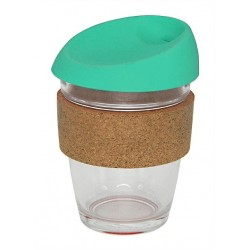 Teal 340ml Reusable Glass Karma Kup with Cork Band and Silicone Lid