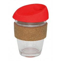 Red 340ml Reusable Glass Karma Kup with Cork Band and Silicone Lid
