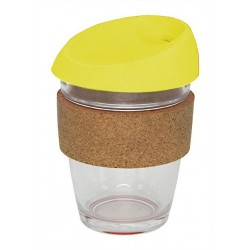 Yellow 340ml Reusable Glass Karma Kup with Cork Band and Silicone Lid