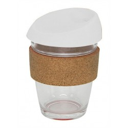 White 340ml Reusable Glass Karma Kup with Cork Band and Silicone Lid