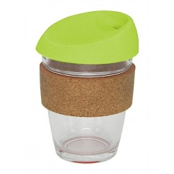 Lime 340ml Reusable Glass Karma Kup with Cork Band and Silicone Lid