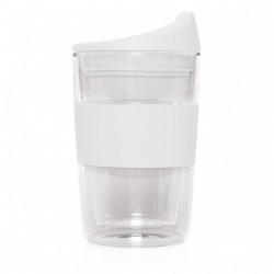 White 300ml Reusable Double Walled Glass Cup 2 Go