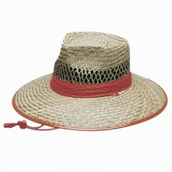 Natural Straw Hat Orange Trim