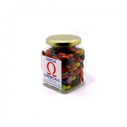 Choc Beans in Glass Square Jar 170G (Mixed Colours)