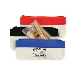 Bamboo Stationery Set In Cotton / Canvas Organiser / Pencil Case