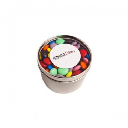 Small Round Acrylic Window Tin Fillled with Choc Beans 170G (Corporate Colours)