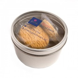 Small Round Acrylic Window Tin Fillled with Biscuits X4