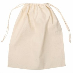 Natural Calico Drawstring Bag
